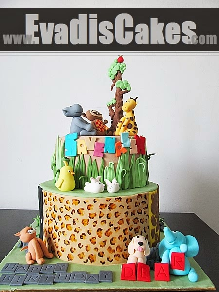 Cake with leopard pattern and design