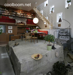 Vista del curioso interior de la casa alemana vanguardista