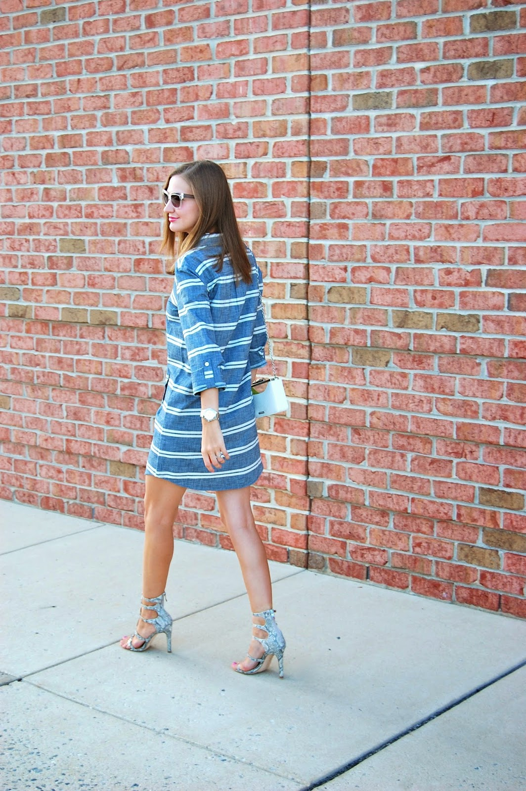 Wearing Loft Striped Chambray Shirt Dress, BCBGeneration Manci Heels, Forever21 Clear Sunglasses