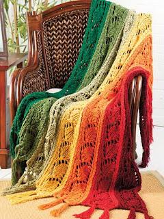вязаные одеяла спицами