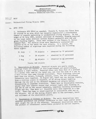 UFO Report at  Missile Sites, F E Warren AFB Wyoming (A) August 1965