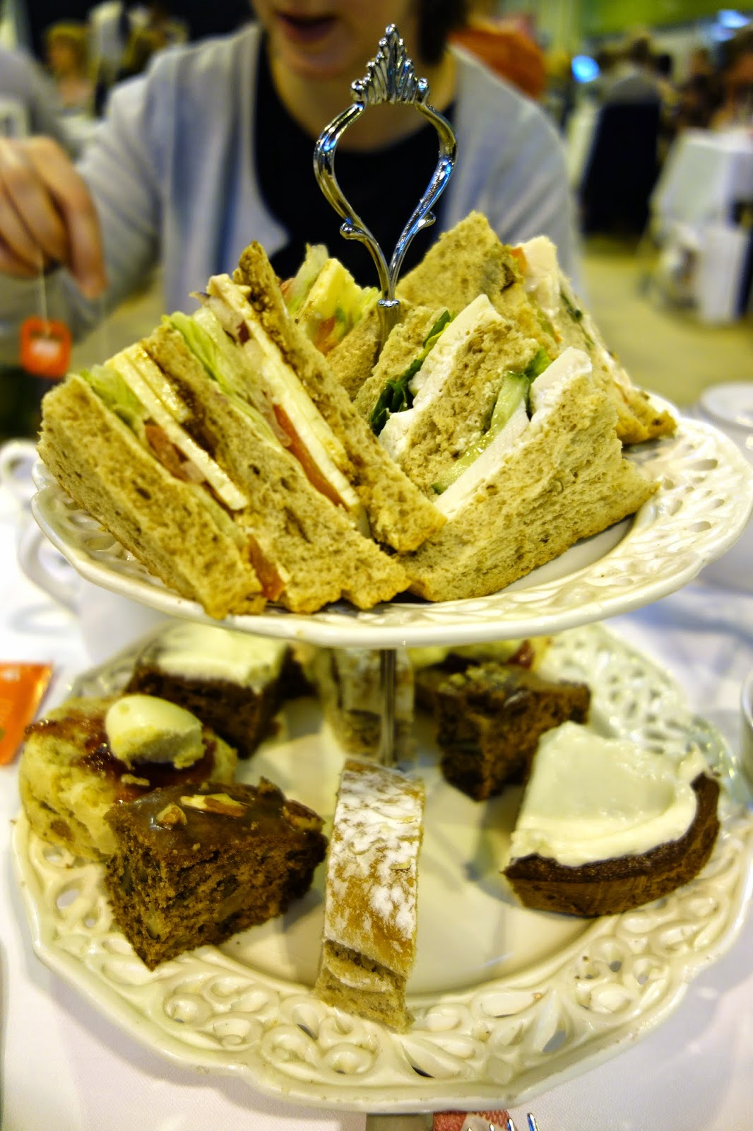 Afternooon Tea tiers of cakes and sandwiches