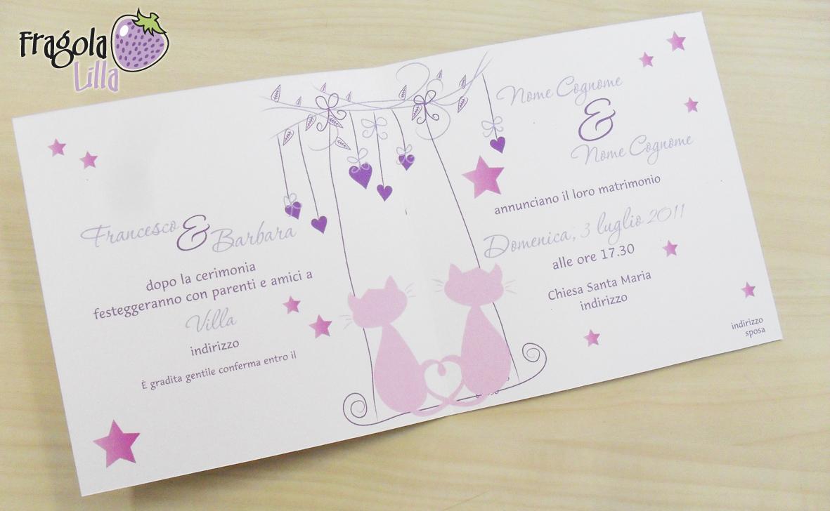 Matrimonio Tema Gatti : Fragola lilla partecipazioni miciose