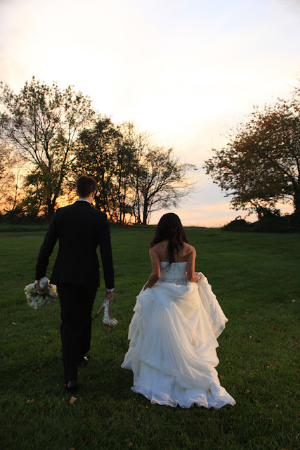 Bride and Groom Walking After Ceremony Stone Manor| Whysall Photography