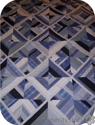 Quilt Top made from men's dress shirts - ProsperityStuff