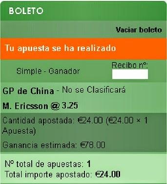 Apuestas Deportivas Rosberg Formula 1- Gran Premio de China Ericsson Sportium