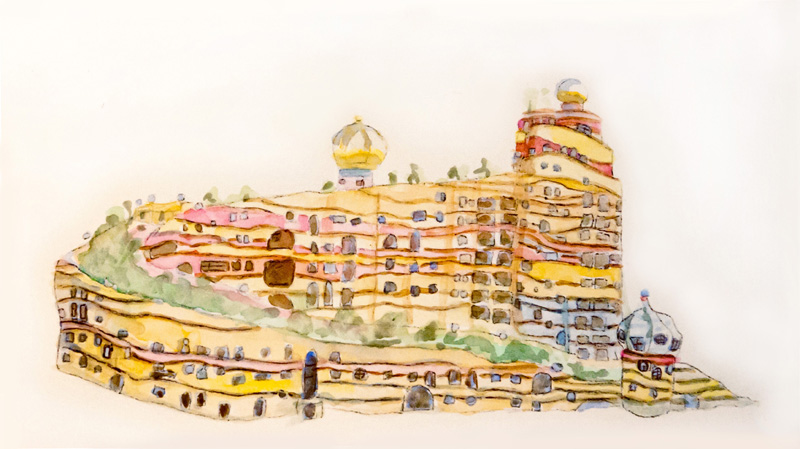 Hundertwasser's Waldspirale, 2011 watercolor sketch