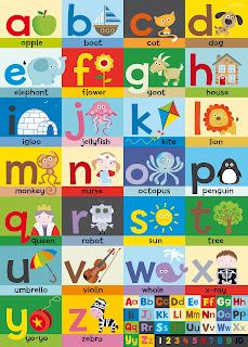 Alphabet Poster Canvas Print. Shown in close up.