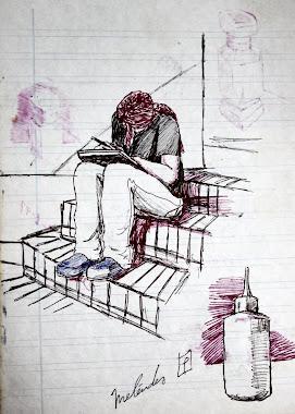 Sentada en la escalera