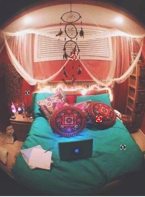 Quarto com decoração hippie