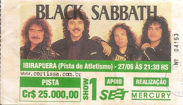 Ingresso para o show do Black Sabbath em 27/06/1992