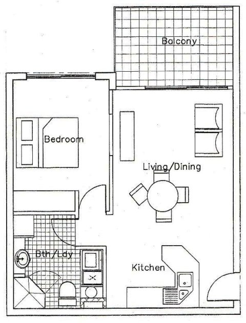 Small one bedroom apartment floor plans home decor ideas for Single bedroom apartment design