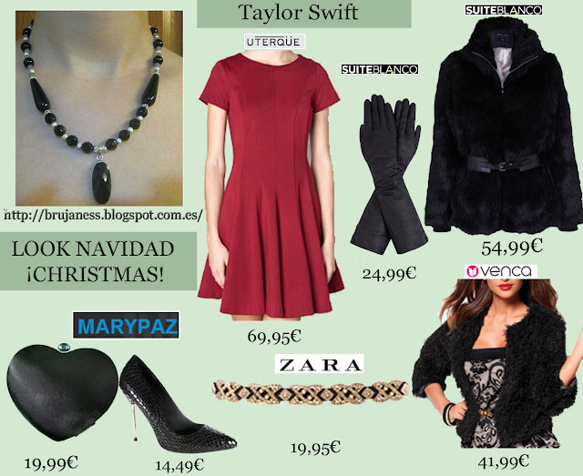 Taylor Swift look red dress hotel london christmas as seen on visto en famosa abrigo clunch brujaness brujaness's workshop Gothic Sterling Silver Black Onyx & blue Aventurine necklace choker pendant 925