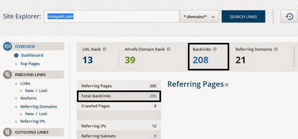 Cara Mengetahui Jumlah Backlink Blog Kita