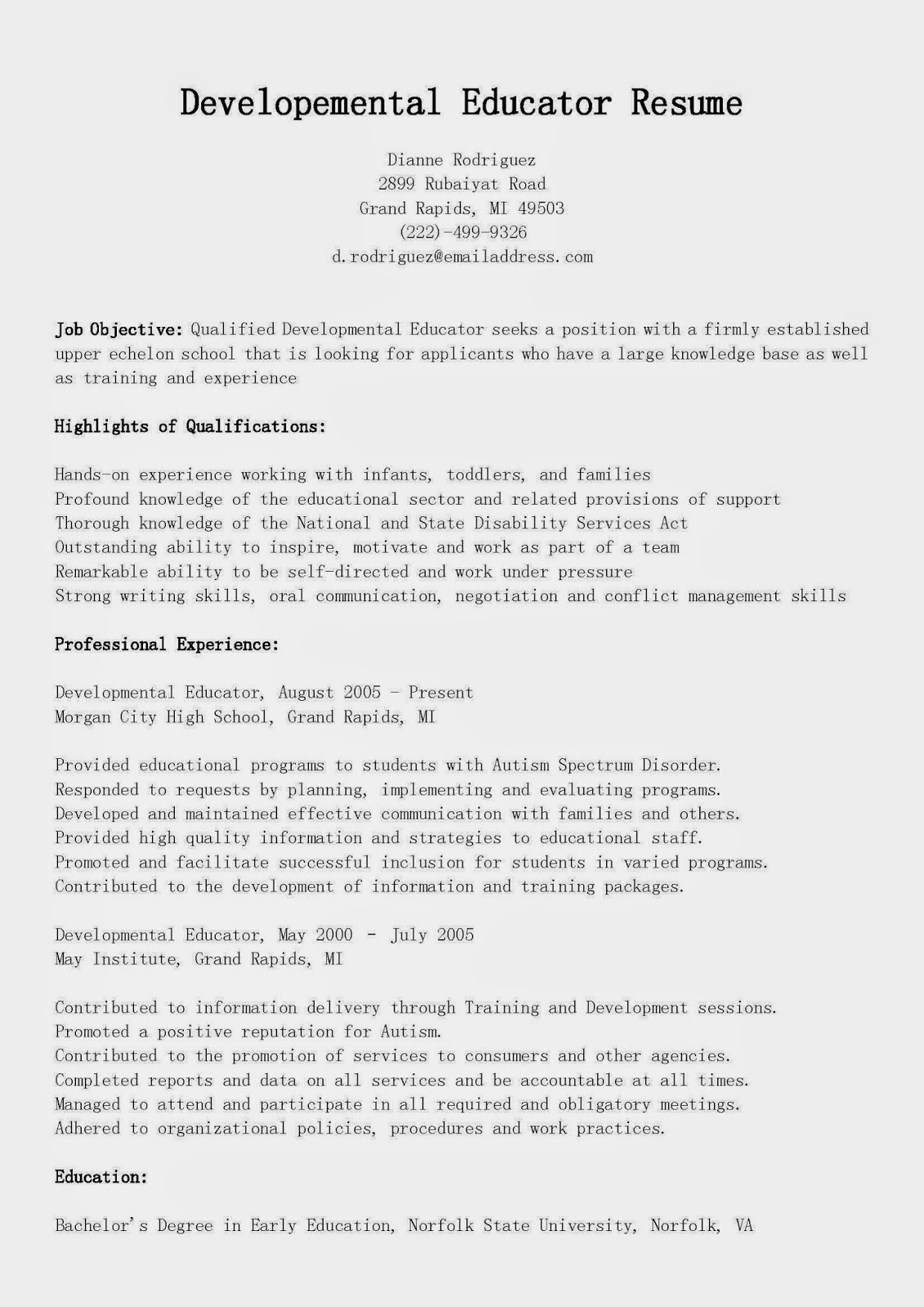 resume samples  developemental educator resume sample