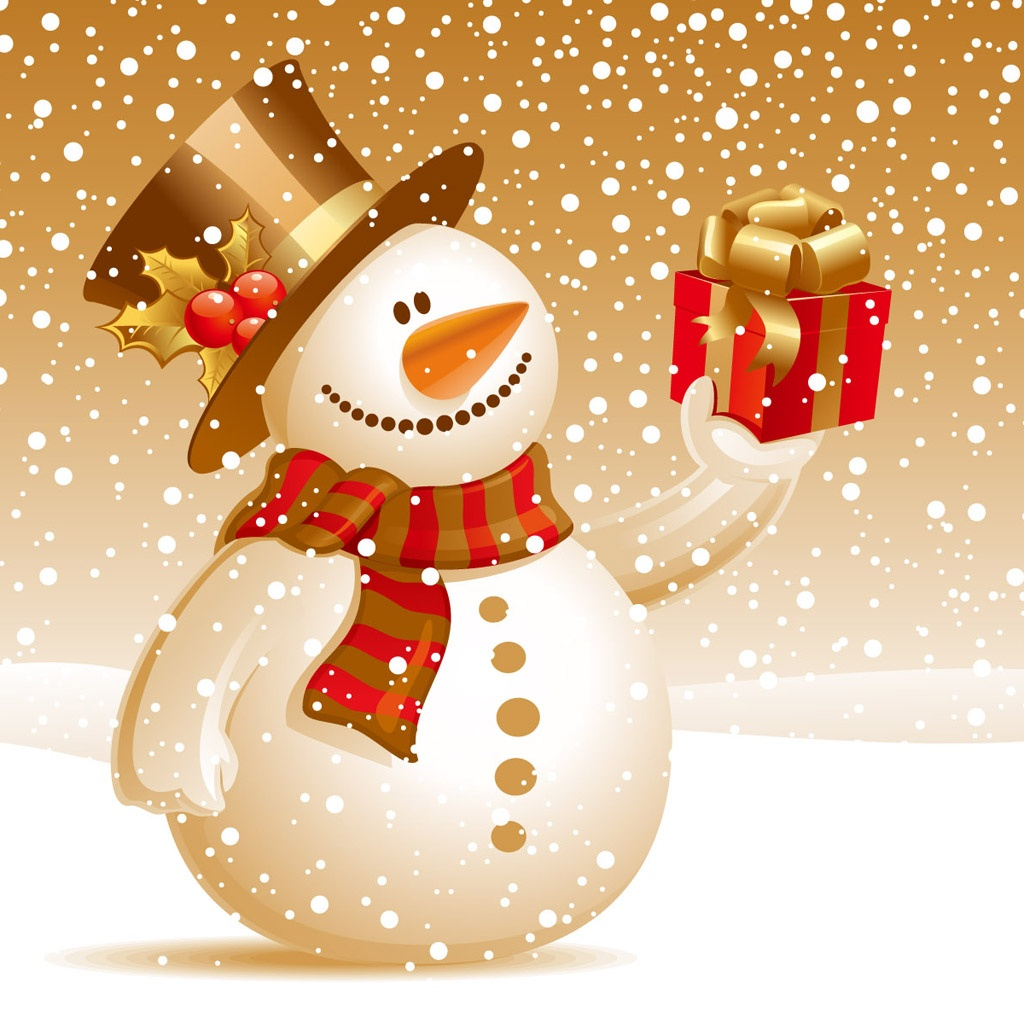 Free download Christmas snowman iPad wallpaper
