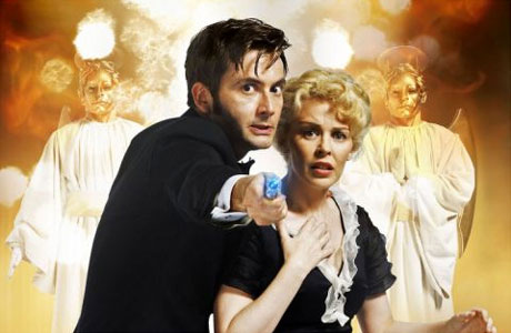 David Tennant and Kylie Minogue face the Heavenly Hosts