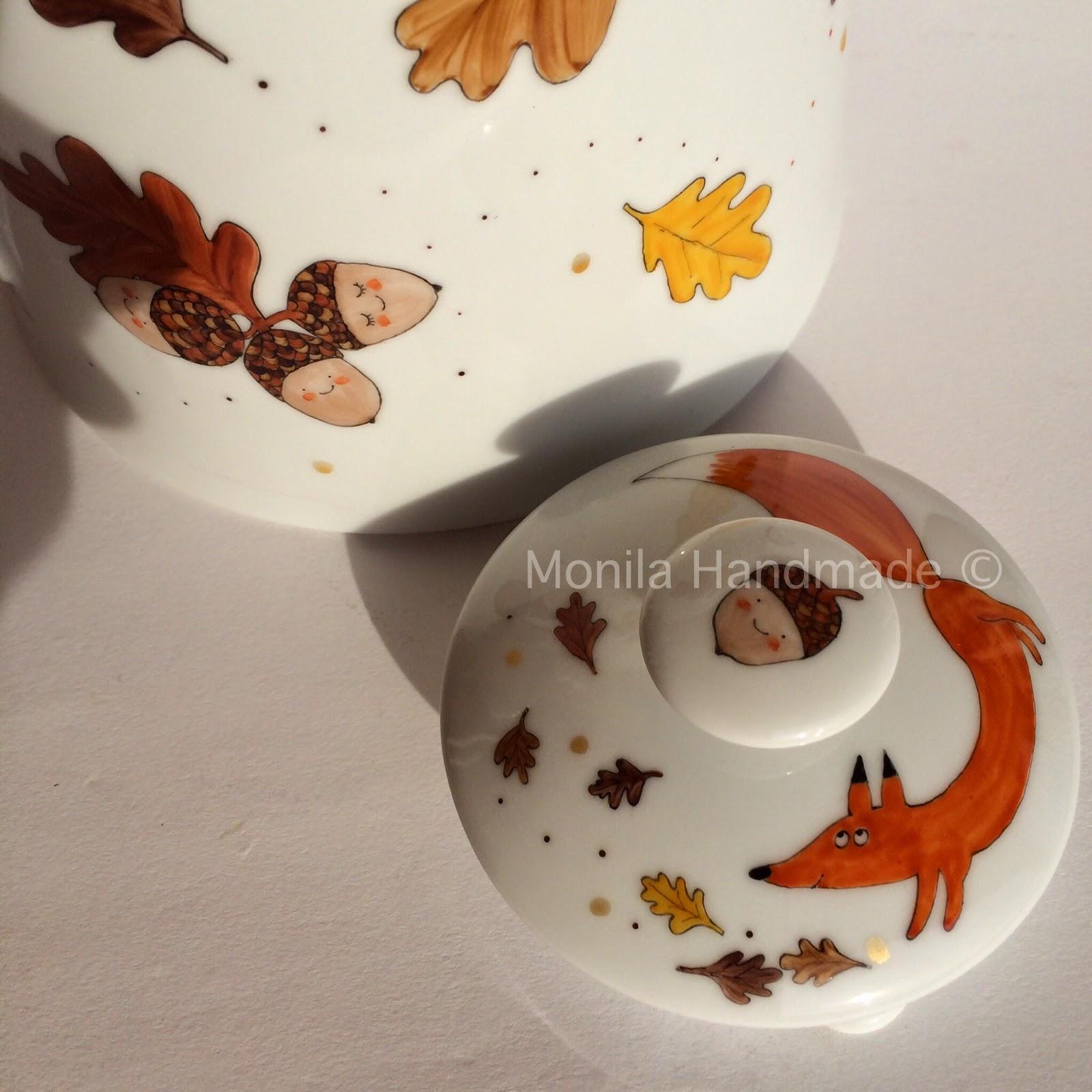 Monila Handmade,autunno,ghiande,volpe,porcellana,dipinto a mano