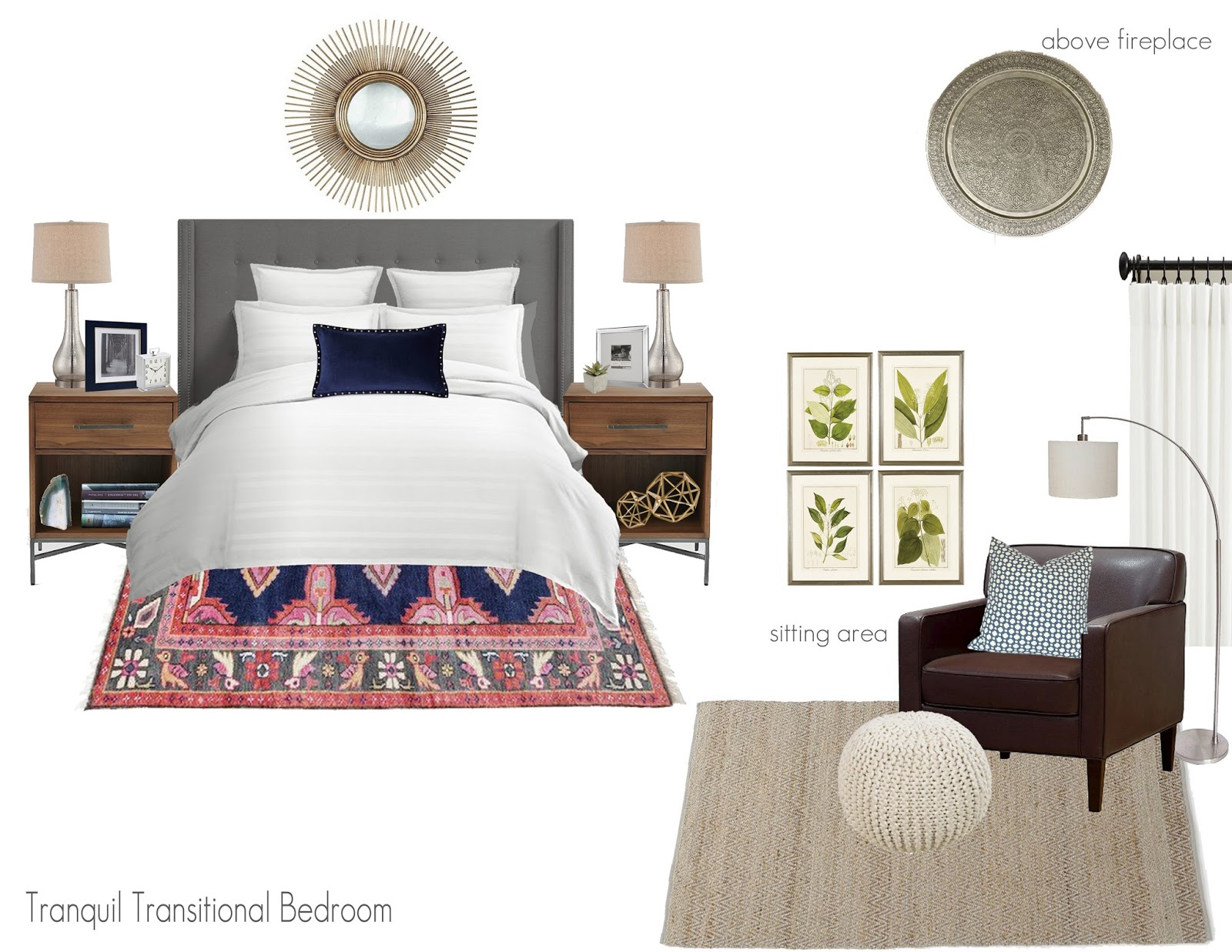 Olive Lane Transitional Master Bedroom E Design