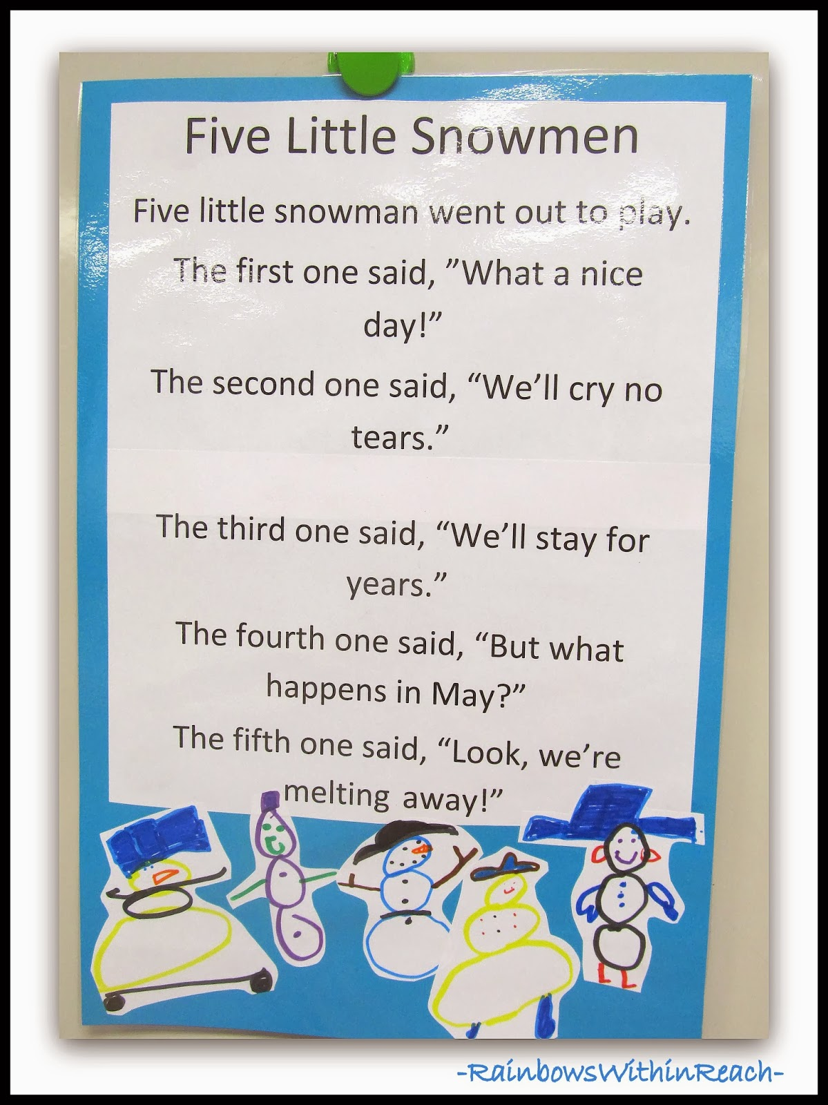 Five Snowmen Poem as Anchor Chart via RainbowsWithinReach