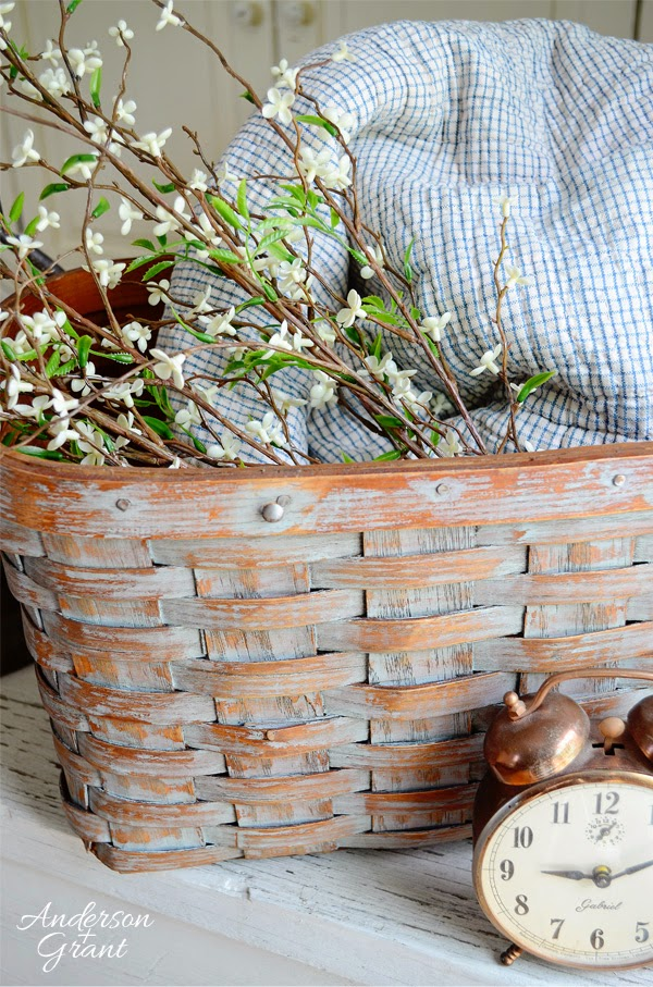 Transforming a broken thrift store picnic basket into a useful decorative storage basket | www.andersonandgrant.com