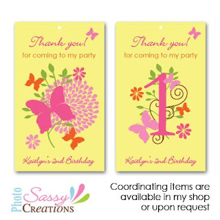 butterflies garden favor tags