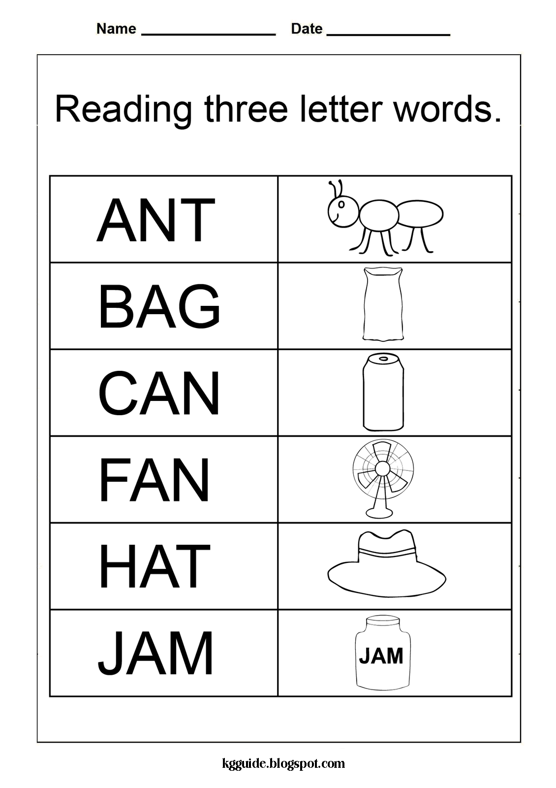 KINDERGARTEN WORKSHEET (THREE LETTER WORDS) ~ Kindergarten Worksheet ...