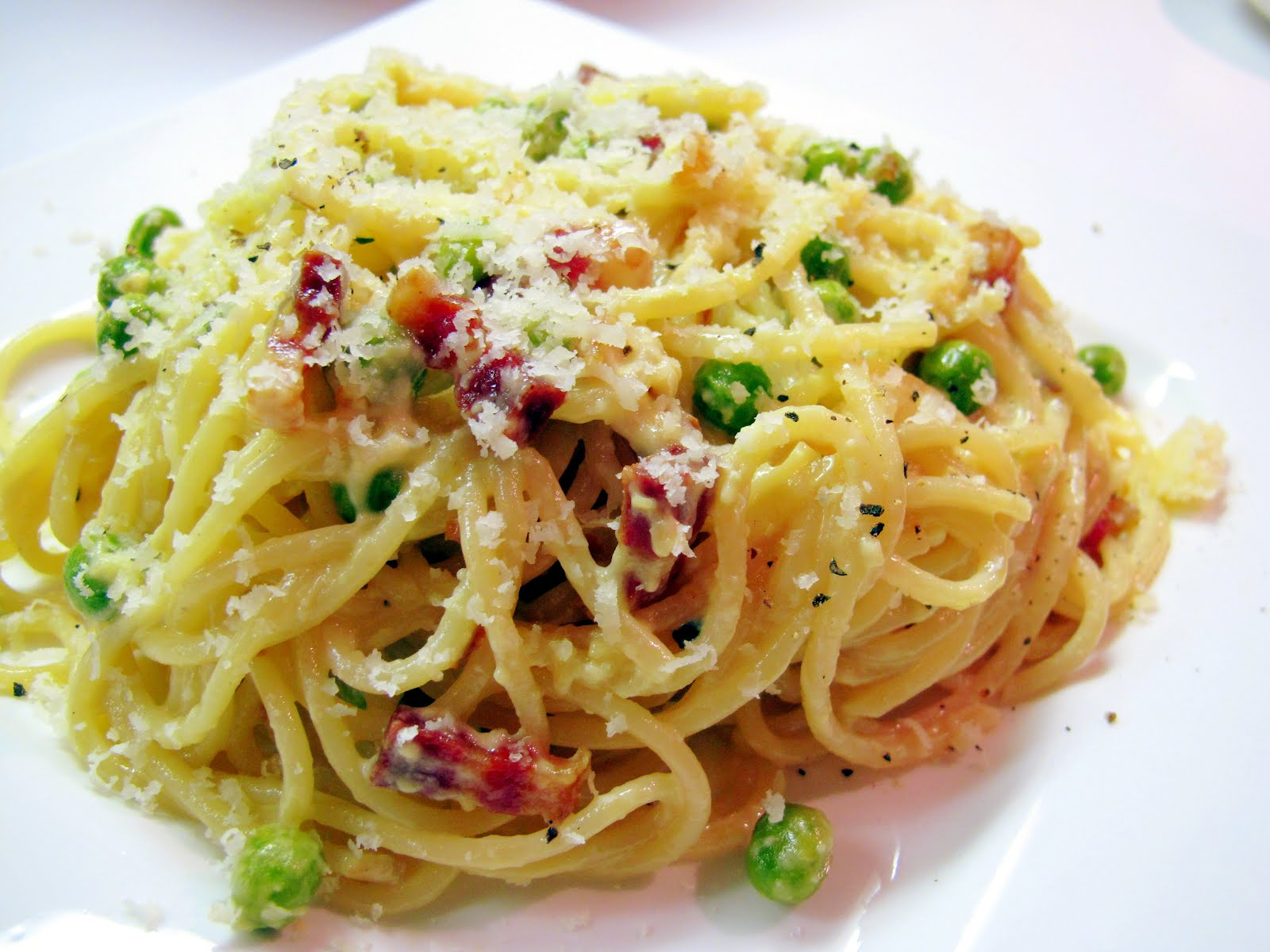 pasta carbonara with peas recipe pancetta