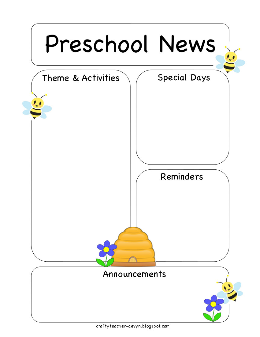 preschool bee newsletter template the crafty teacher. Black Bedroom Furniture Sets. Home Design Ideas
