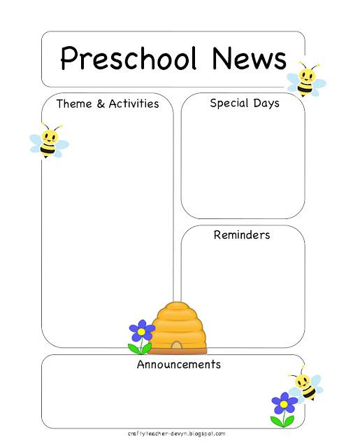 preschool bee newsletter template the crafty teacher. Black Bedroom Furniture Sets. Home Design Ideas
