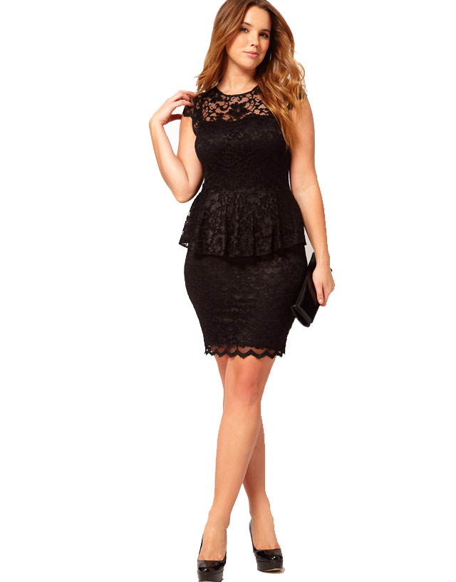 asos curves exclusive peplum dress in lace 80