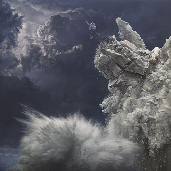 Joel Rea pintura hiper-realista surreal cães gigantes caindo céu Beira do mundo