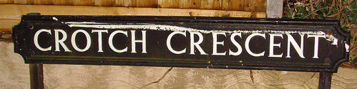A road name sign for 'Crotch Crescent'