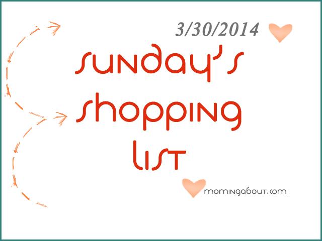Sunday's Shopping List