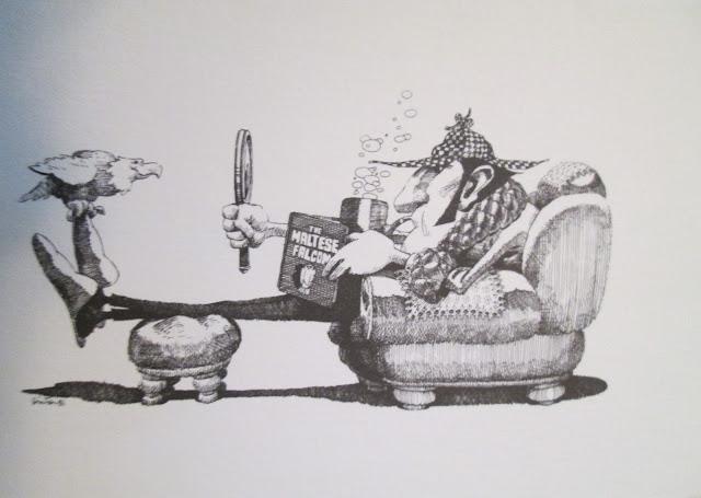 Sherlock Holmes reads The Maltese Falcon
