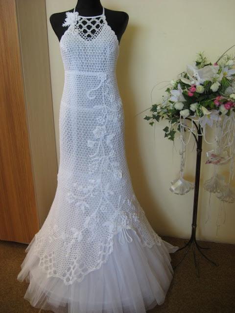 trico y crochet-madona-mía: modelos de vestido de novia en crochet