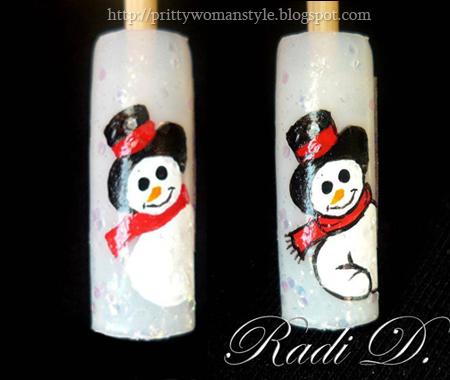 Снежен човек - рисуваме шал и контур