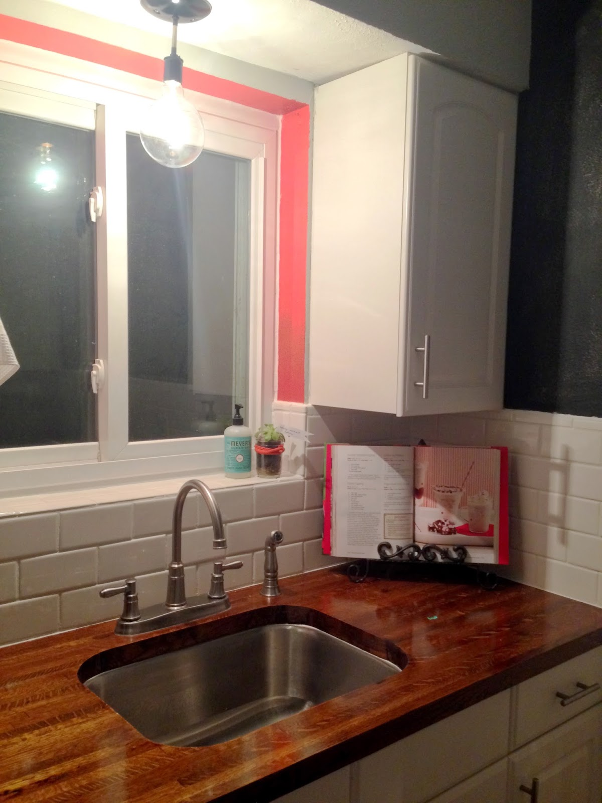 DIY kitchen remodel butcherblock counter tops and subway tile