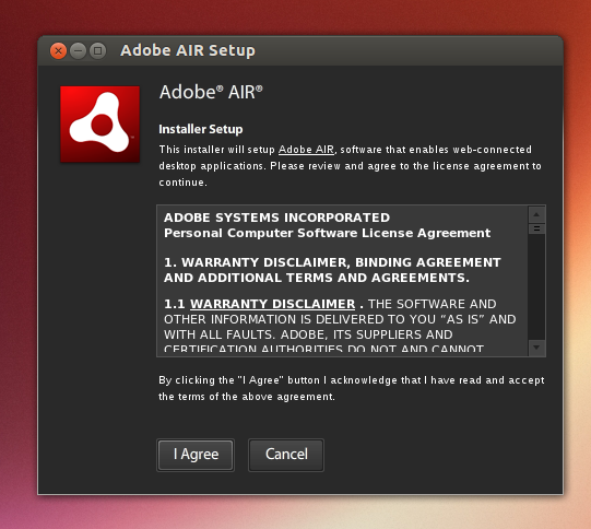 Instal Adobe AIR di Ubuntu