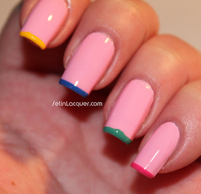 Simple multi colored tip nail art
