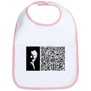 A QR code and a picture of Albert Einstein on a baby bib.