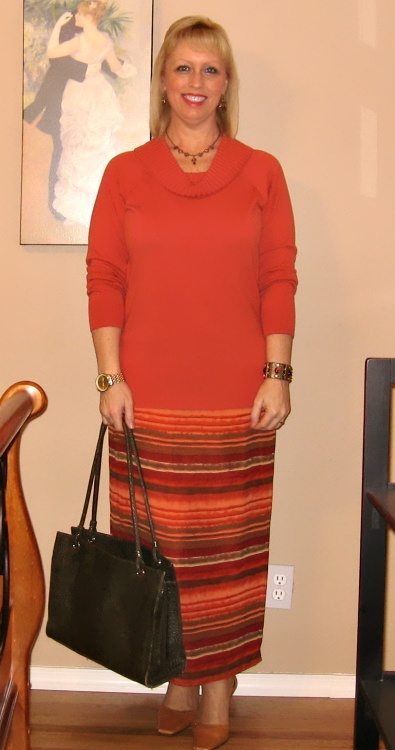 orange red striped skirt