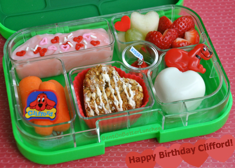Clifford the Big Red Dog bento school lunch in Yumbox