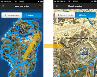 Mapa interactivo para GTA V en iPhone, iPod Touch e iPad
