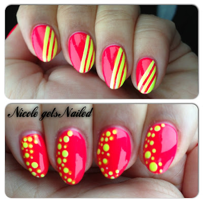 Neon Pink with Neon Yellow Stripes Dotticure Nails
