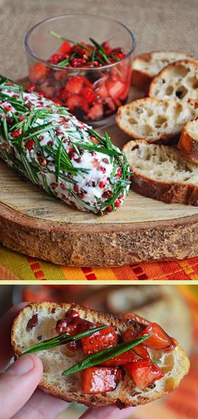 Vinagrete de morango e queijo de cabra cremoso com crosta de pimenta rosa e alecrim