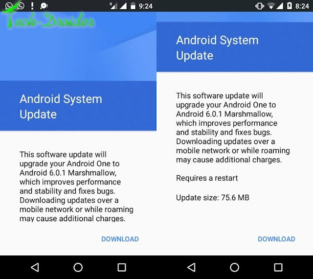 ota download] manually update android one to 6.0.1 marshmallow