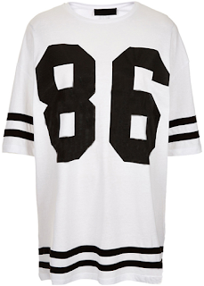 The number and stripe printed white baseball T-shirt from Rotita