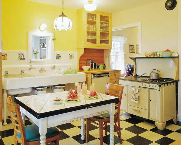 the country farm home: farmhouse style kitchens with checkerboard
