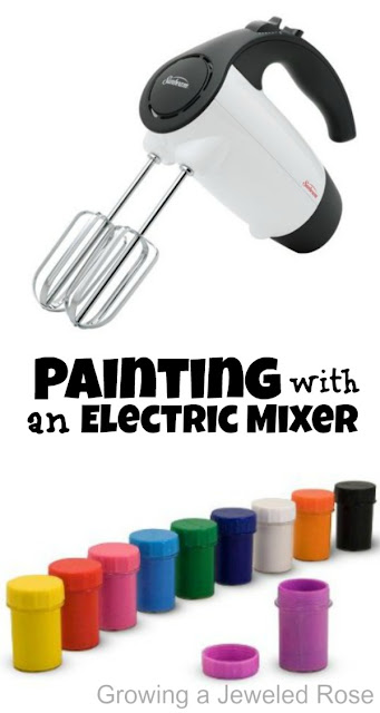Painting with an electric mixer- super fun for kids and the art effects are BEAUTIFUL!